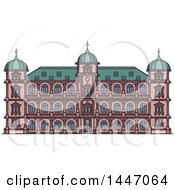 Clipart Of A Line Drawing Styled German Landmark Castle Gottesaue Royalty Free Vector Illustration
