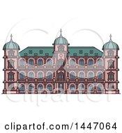 Poster, Art Print Of Line Drawing Styled German Landmark Castle Gottesaue