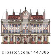 Clipart Of A Line Drawing Styled German Landmark Town Hall Royalty Free Vector Illustration by Vector Tradition SM