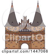 Clipart Of A Line Drawing Styled German Landmark Holsten Gate Royalty Free Vector Illustration