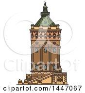 Poster, Art Print Of Line Drawing Styled German Landmark Wasserturm