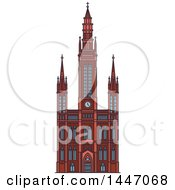 Clipart Of A Line Drawing Styled German Landmark Marktkirche Royalty Free Vector Illustration