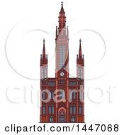 Poster, Art Print Of Line Drawing Styled German Landmark Marktkirche
