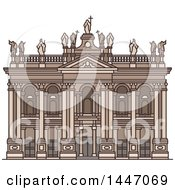 Clipart Of A Line Drawing Styled Italian Landmark Archbasilica Of St John Lateran Royalty Free Vector Illustration by Vector Tradition SM