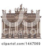 Poster, Art Print Of Line Drawing Styled Italian Landmark Archbasilica Of St John Lateran