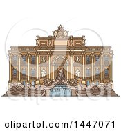 Line Drawing Styled Italian Landmark Trevi Fountain