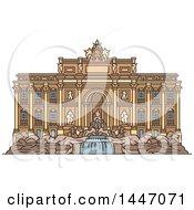 Poster, Art Print Of Line Drawing Styled Italian Landmark Trevi Fountain