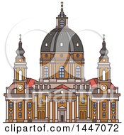Clipart Of A Line Drawing Styled Italian Landmark Church Gran Madre Di Dio Royalty Free Vector Illustration
