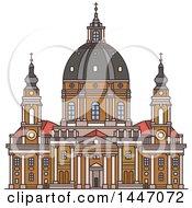 Poster, Art Print Of Line Drawing Styled Italian Landmark Church Gran Madre Di Dio