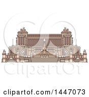 Poster, Art Print Of Line Drawing Styled Italian Landmark Monument Altare Della Patria