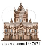 Clipart Of A Line Drawing Styled Italian Landmark Naples Cathedral Royalty Free Vector Illustration by Vector Tradition SM