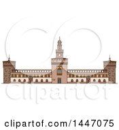 Clipart Of A Line Drawing Styled Italian Landmark Sforza Castle Royalty Free Vector Illustration by Vector Tradition SM