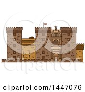 Clipart Of A Line Drawing Styled Italian Landmark Castel Nuovo Royalty Free Vector Illustration by Vector Tradition SM