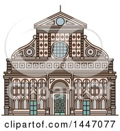 Clipart Of A Line Drawing Styled Italian Landmark Church Santa Maria Novella Royalty Free Vector Illustration