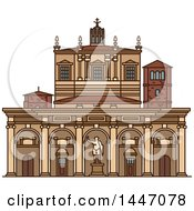 Clipart Of A Line Drawing Styled Italian Landmark Basilica Of San Lorenzo Royalty Free Vector Illustration by Vector Tradition SM