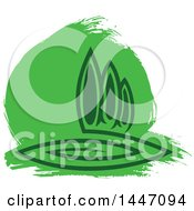 Clipart Of A Park With Trees And Green Paint Royalty Free Vector Illustration by Vector Tradition SM