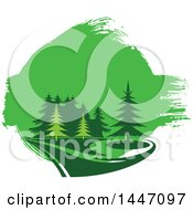 Clipart Of A Park Of Evergreen Trees And Green Paint Royalty Free Vector Illustration by Vector Tradition SM