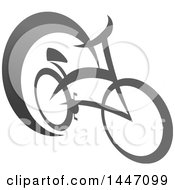 Clipart Of A Grayscale Bicycle Icon Royalty Free Vector Illustration