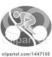 Clipart Of A Grayscale Bicycle Cyclist Icon Royalty Free Vector Illustration by Vector Tradition SM