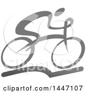 Clipart Of A Grayscale Bicycle Cyclist Icon Royalty Free Vector Illustration