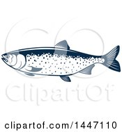 Navy Blue And White Salmon Fish