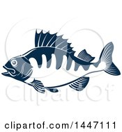 Navy Blue And White Perch Fish