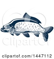 Clipart Of A Navy Blue And White Carp Fish Royalty Free Vector Illustration