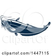 Clipart Of A Navy Blue And White Sheatfish Royalty Free Vector Illustration