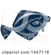 Navy Blue And White Flounder Fish