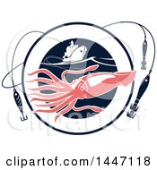 Pink Squid In A Navy Blue Circle With Hooks And A Boat