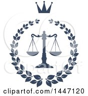 Clipart Of A Navy Blue Laurel Wreath With A Crown And Legal Scales Of Justice Royalty Free Vector Illustration
