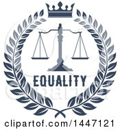 Clipart Of A Navy Blue Laurel Wreath With Legal Scales Of Justice With A Crown And Equality Text Royalty Free Vector Illustration