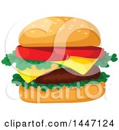 Clipart Of A Cheeseburger Royalty Free Vector Illustration by Vector Tradition SM