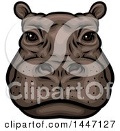 Clipart Of A Hippopotamus Mascot Face Royalty Free Vector Illustration by Vector Tradition SM