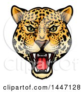 Clipart Of A Fierce Roaring Jaguar Mascot Head Royalty Free Vector Illustration