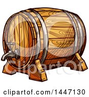 Poster, Art Print Of Sketched Wine Barrel Or Beer Keg