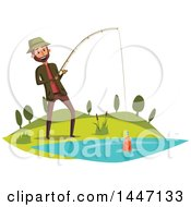 Clipart Of A Happy Man Fishing And Reeling In His Catch Royalty Free Vector Illustration