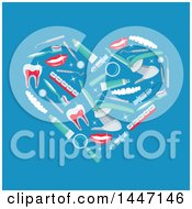 Clipart Of A Heart Formed Of Dental Icons On Blue Royalty Free Vector Illustration by Vector Tradition SM