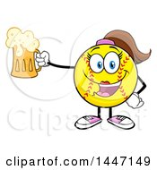Cartoon Female Softball Character Mascot Holding Up A Beer Mug