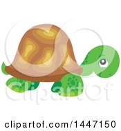 Clipart Of A Cute Tortoise Turtle Royalty Free Vector Illustration