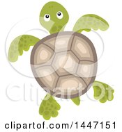 Clipart Of A Sea Turtle Swimming Royalty Free Vector Illustration