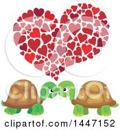 Cute Tortoise Valentine Couple Under Hearts