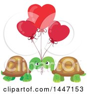 Clipart Of A Cute Turtle Valentine Couple Under Heart Balloons Royalty Free Vector Illustration