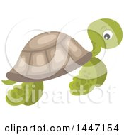 Clipart Of A Cute Sea Turtle Swimming Royalty Free Vector Illustration