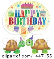 Clipart Of A Happy Birthday Greeting Over A Cute Party Tortoise Turtle Couple Royalty Free Vector Illustration