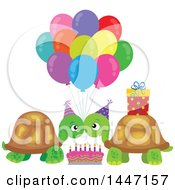 Cute Tortoise Turtle Couple Celebrating At A Birthday Party