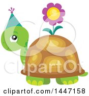 Poster, Art Print Of Cute Party Tortoise Turtle Wearing A Party Hat With A Flower On His Shell
