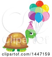 Cute Party Tortoise Turtle Wearing A Party Hat With Birthday Balloons