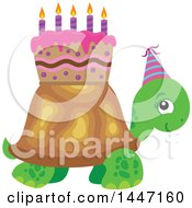 Clipart Of A Cute Party Tortoise Turtle Wearing A Party Hat With A Birthday Cake On His Shell Royalty Free Vector Illustration by visekart