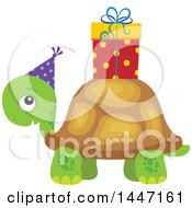 Cute Party Tortoise Turtle Wearing A Party Hat With A Birthday Gift On His Shell